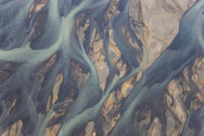 Aerial View of River Estuary Water, Iceland-Peter Adams-Photographic Print