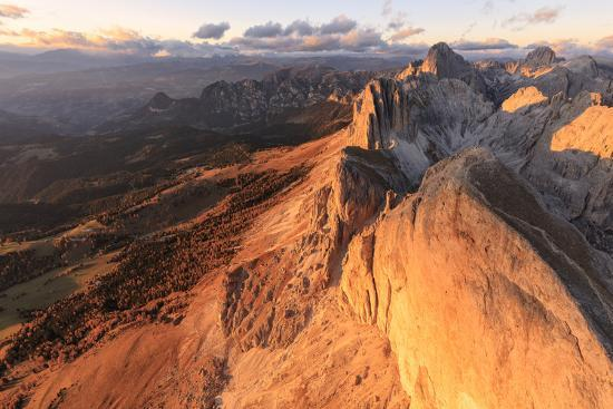 Aerial view of Roda Di Vael at sunset, Catinaccio Group (Rosengarten), Dolomites, South Tyrol, Ital-Roberto Moiola-Photographic Print