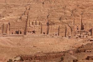Aerial view of Royal Tombs at Ancient Nabatean City of Petra, Wadi Musa, Ma'an Governorate, Jordan