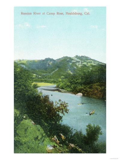 Aerial View of Russian River at Camp Rose - Healdsburg, CA-Lantern Press-Art Print