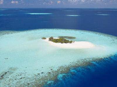 Aerial View of Small Island, Maldives, Indian Ocean, Asia-Sakis Papadopoulos-Photographic Print