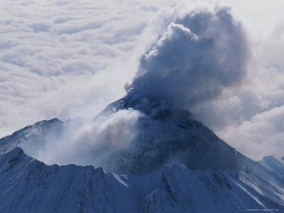 Aerial View of Smoke Pouring From the Dome of Bezymianny Volcano-Peter Carsten-Photographic Print