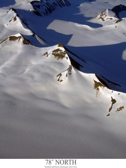 aerial view of snow covered mountain range with glaciers-AdventureArt-Photographic Print