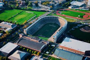 Aerial View of Soldiers Field, home of Harvard Crimson, Harvard, Cambridge, Boston, MA