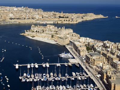 Aerial View of St. Angelo Fort in Vittoriosa in Front of Valletta, Malta, Mediterranean-Tondini Nico-Photographic Print