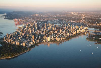 Aerial View of Stanley Park and Downtown Vancouver, Bc, Canada. during a Hazy Sunny Sunset.-Edgar Bullon-Photographic Print