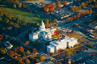 Aerial view of State Capital building and autumn color in Augusta, Maine--Photographic Print
