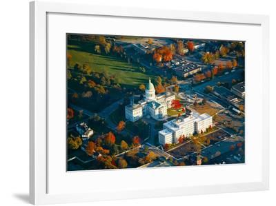 Aerial view of State Capital building and autumn color in Augusta, Maine--Framed Photographic Print