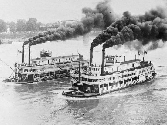 Aerial View of Steamboats Racing--Photographic Print