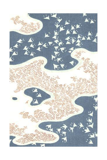 Aerial View of Stylized Birds with Island and Hatch Marks--Art Print