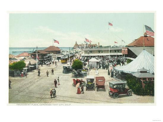 Aerial View of Tent City and Amusement Plaza - Coronado Beach, CA-Lantern Press-Art Print