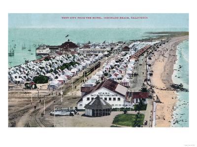 Aerial View of Tent City from Hotel del Coronado - Coronado Beach, CA-Lantern Press-Art Print