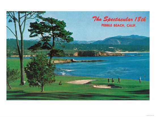 Aerial View of the 18th Green at the Golf Course - Pebble Beach, CA-Lantern Press-Art Print