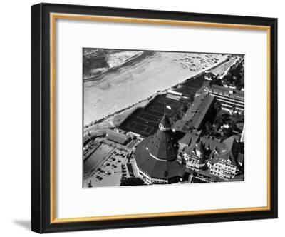 Aerial View of the Beach, Tennis Courts and Pool of the Coronado Hotel-Margaret Bourke-White-Framed Premium Photographic Print