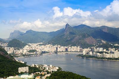 Aerial View of the City and Serra Da Carioca Mountains with Botafogo Bay-Alex Robinson-Photographic Print