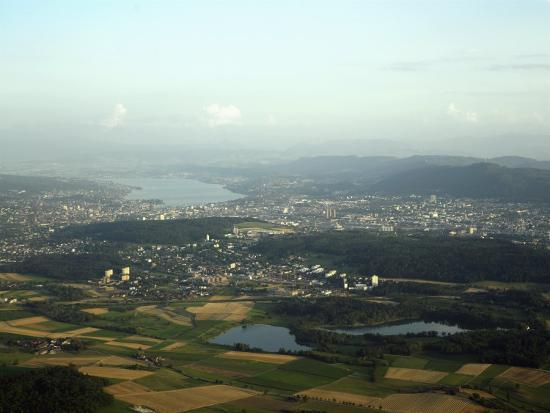 Aerial View of the City, Lakes and Surrounding Hills, Zurich, Switzerland-Jean-luc Brouard-Photographic Print