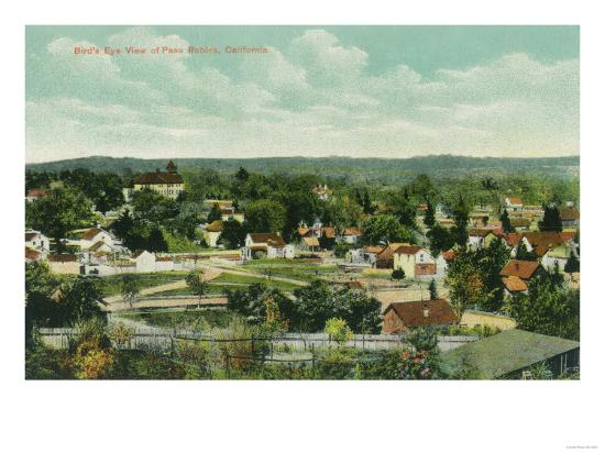 Aerial View of the City - Paso Robles, CA-Lantern Press-Art Print