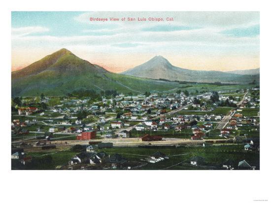 Aerial View of the City - San Luis Obispo, CA-Lantern Press-Art Print