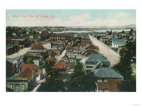 Aerial View of the City - Vallejo, CA-Lantern Press-Art Print