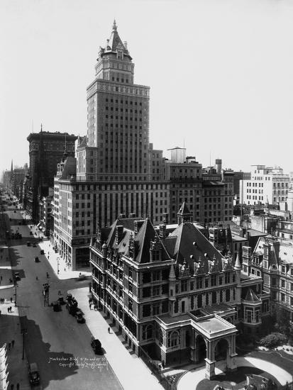 Aerial View of the Crown Building and Vanderbilt Mansion, New York-Irving Underhill-Photographic Print