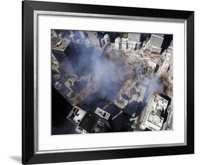 Aerial View of the Destruction Where the World Trade Center Collapsed-Stocktrek Images-Framed Photographic Print