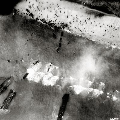 Aerial View of the First Landing with Landing Craft and Allied Soldiers--Photographic Print