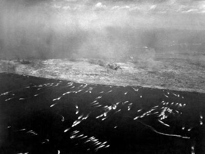 Aerial View of the First Wave of Landing Craft Invading Iwo Jima--Photo