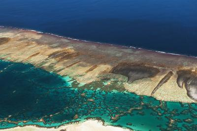 Aerial View of the Fringing Reef and the Inside Lagoon of Millennium Atoll-Mauricio Handler-Photographic Print