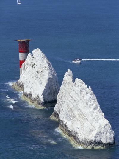 Aerial View of the Needles Rocks and Lighthouse, Isle of Wight, England, United Kingdom-Charles Bowman-Photographic Print