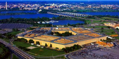 Aerial view of The Pentagon at dusk, Washington DC, USA