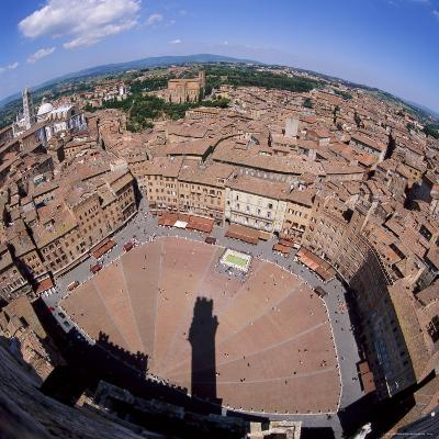 Aerial View of the Piazza Del Campo and the Town of Siena, Tuscany, Italy-Tony Gervis-Photographic Print