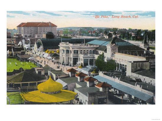 Aerial View of the Pike - Long Beach, CA-Lantern Press-Art Print