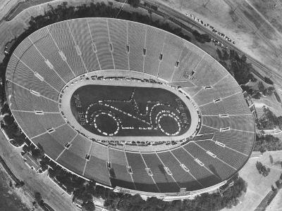 Aerial View of the Rose Bowl Half Time Show-Allan Grant-Photographic Print