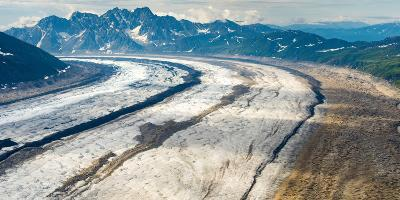 Aerial View of the Ruth Glacier and the Alaska Range on a Sightseeing Flight from Talkeetna, Alaska-Timothy Mulholland-Photographic Print