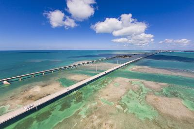 Aerial View of the Seven Mile Bridge Near Marathon Island in the Florida Keys-Mike Theiss-Photographic Print