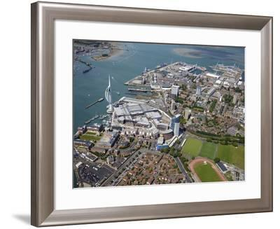 Aerial View of the Spinnaker Tower and Gunwharf Quays, Portsmouth, Hampshire, England, UK, Europe-Peter Barritt-Framed Photographic Print