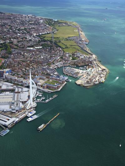 Aerial View of the Spinnaker Tower and Gunwharf Quays, Portsmouth, Solent, Hampshire, England, UK-Peter Barritt-Photographic Print