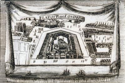 Aerial View of the Tower of London with Boats on the River Thames, C1790--Giclee Print
