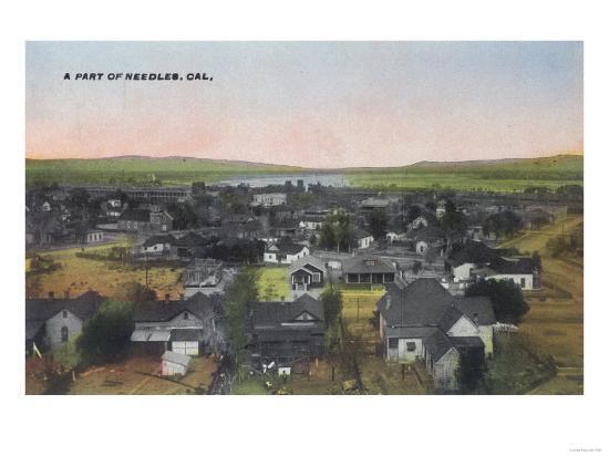 Aerial View of the Town - Needles, CA-Lantern Press-Art Print