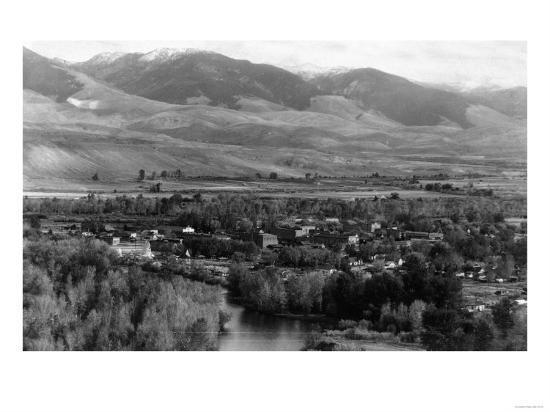 Aerial View of the Town - Salmon, ID-Lantern Press-Art Print