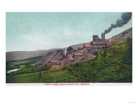 Aerial View of the Virtue Mine - Baker City, OR-Lantern Press-Art Print
