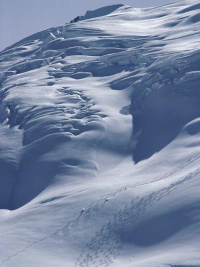 Aerial View of Three Skiers--Photographic Print