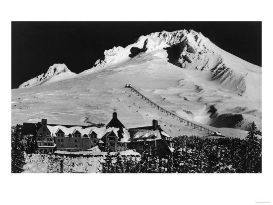 Aerial View of Timberline Lodge and Ski Lift - Mt. Hood, OR-Lantern Press-Art Print