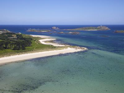 Aerial View of Tresco, Isles of Scilly, England, United Kingdom, Europe-Peter Barritt-Photographic Print
