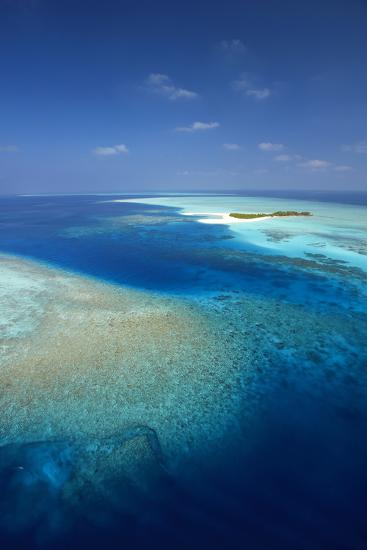 Aerial View of Tropical Island and Lagoon, Maldives, Indian Ocean, Asia-Sakis Papadopoulos-Photographic Print