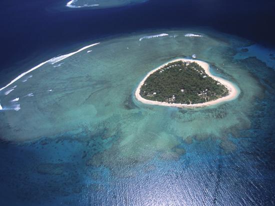 'Aerial View Of Tropical Island, Tavarua Island, Fiji