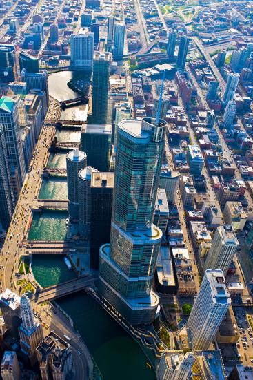 Aerial view of Trump Tower, Chicago River, Chicago, Illinois, USA--Photographic Print
