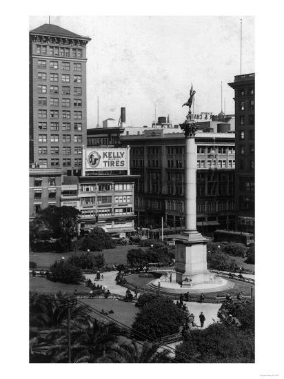 Aerial View of Union Square - San Francisco, CA-Lantern Press-Art Print
