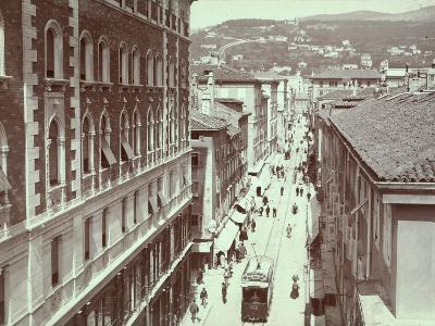 Aerial View of Via St. Antonio, in Trieste, with the Hill of Scorcola-Giuseppe Wulz-Photographic Print
