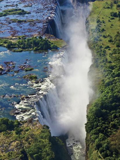 Aerial View of Victoria Falls, Waterfall, and the Zambesi River, Zimbabwe-Miva Stock-Photographic Print